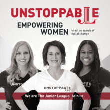 Three smiling women under the Headings :Unstoppable and empowering women.